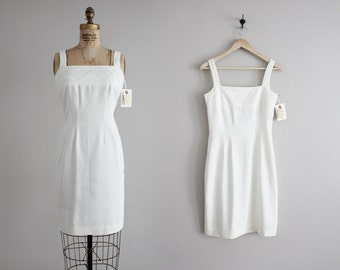 white cocktail dress / tank dress / 90s white dress
