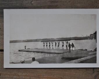vintage black and white photograph, crew team