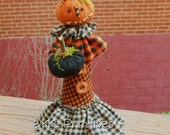 Whimsical Pumpkin Head Doll Halloween Decoration