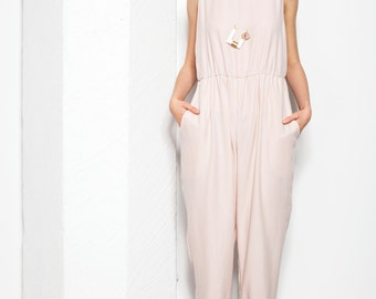 Comfy Jumpsuit . Baby Blush Pink Jumpsuit . Pink Loose Jumpsuit . Loose Fit Overall . AW15 Ophelie Jumpsuit