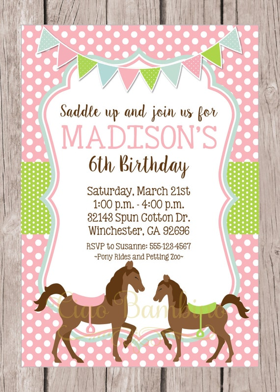Rare image within horse birthday invitations free printable