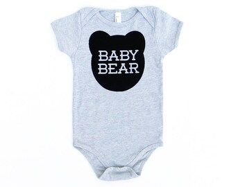 Baby Bear Cotton One Piece in Heather Grey with Black print - Long and Short Sleeves - Gender Neutral Baby Shower Gift