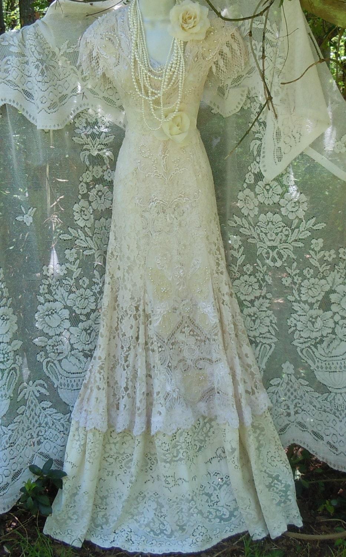 Cream Wedding Dress Lace Crochet Mermaid By Vintageopulence