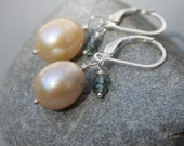 Yellow Pearl & Green Quartz Gemstone Earrings, Sterling Silver Lever Backs, Petite Earrings, Handmade Jewelry