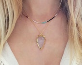 Rose Quartz Gold Arrowhead Necklace // Boho Gemstone Arrow Necklace // Pink Crystal Necklace