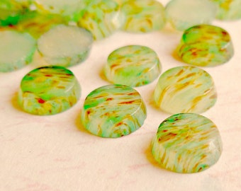 12 Vintage 7mm Tiny Japanese Light Green and Multi Color Spots Glass Cabochons (44-2F-12)