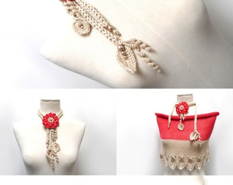 Crochet Cotton Lariat Necklace - Light Beige / Sand Leaves and Bright Red / Cherry Flower with Glass Pearls - LITTLE PEONY