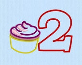 Cupcake Applique 2 Number Machine Embroidery Design File