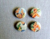 Retro Beach Magnets, Set of 4 Vintage Inspired Decorative Magnets for your kitchen fridge, memo board, Summer Fun Gift Idea