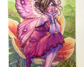 Flower Fairy Postcard - Day Dreamer - Pink Hearts - Stationary - Watercolor Art