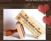 1.5x.5 or 1/2x1.5 Custom Personalized Modern Red Rubber Stamp mounted WoodBlock or Handle JLMould Art Logo Image Wedding Invitations