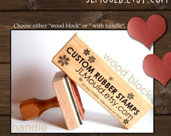 1/2x2 or  2x1/2 Custom Personalized Modern Red Rubber Stamp mounted WoodBlock or Handle JLMould Art Logo Image Wedding Invitations