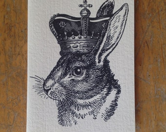rabbit king letterpress card hare bunny