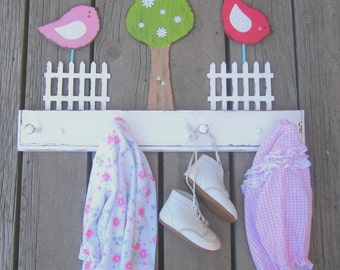 BIRDS NURSERY ROOM Clothing Peg Rack - Original Hand Painted Wood - Towel Rack Option