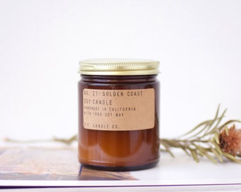 No. 21: GOLDEN COAST - 7.2 oz soy wax candle - sea salt air  / redwood / sage - P.F. Candle Co.