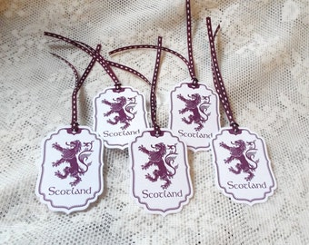 Scotland Rampant Lion Tags, Heraldry, Purple Tags for party favors, Set of 5, Scottish Heritage