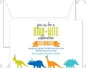 10 Dinosaurs Birthday Invitations, Dino Party, Dinosaur Invite, Modern Dinosaur Party, Trex Invite, Triceratops Invi
