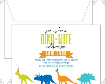 Dinosaurs Birthday Invitation, Dino Party, Dinosaur Invite, Modern Dinosaur Party, Trex Invite, Triceratops Invite, Long Neck invite
