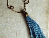 Harbour Blue Tassel Necklace, Long Tassel Necklace, Layering Tassel Necklace