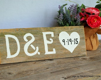 Rustic Table Sign. Name and Date, Reception Decorations, Save the Date Sign, Customized His Her Initials Rustic Weddings Personalized Gift