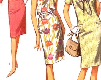 Mod Shift dress 60s mod vintage sewing pattern Simplicity 5986 Summer party style Uncut Bust 37