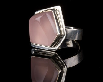 Hand Carved Rose Quartz Ring in Sterling Silver, pentagon, pink, geomentrc