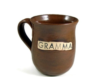 Brown GRAMMA Mug - Ready to Ship Today - 24 oz- 3 cups - Handmade Pottery Cup - Wheel Thrown Stoneware Clay