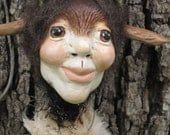 Mixed Media Anthropomorphic Folk Art Doll Figurine Pagan Deer Woman Clay and Fabric PRETTY AWFUL ARTEMIS