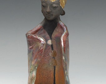 Golden (Blonde) Raku Standing Buddha Sculpture in a Gesture of Equanimity