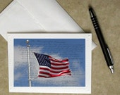 American flag photo notecard, patriotic note card, July 4th greeting card, photo card, 4th of July greeting card, military card