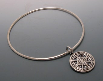 READY TO SHIP Sterling Silver Bangle with Universal Pattern Charm