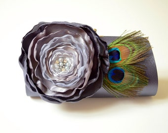 READY TO SHIP ~ Charcoal Gray Peacock Feather Clutch ~ Bridal Clutch Bridesmaid Clutch ~ Ombre Flower Gray to Silver  ** Sale **