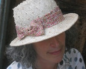 Straw Porkpie Hat - Knotted Sisal - Pink Cotton Floral Band