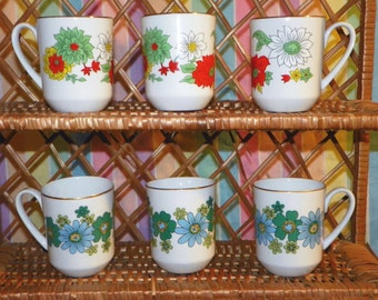 Set of 6 Vintage Creative Mugs with Floral Design made in Japan