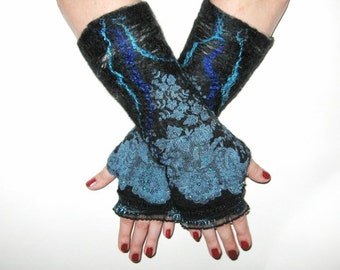 FELTED GLOVES Fingerless Mittens Wool Silk Felt Floral wrist warmer