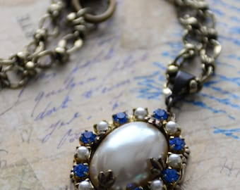 Royal Blue Crystal Pearl Necklace, Victorian Style Necklace, Blue Necklace, Renaissance Necklace, Medieval Necklace, SRAJD, LARP jewelry
