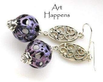 """Enameled Filigree Earrings, Purple Enamel Earrings with Filigree Accents, """"Down Time"""""""