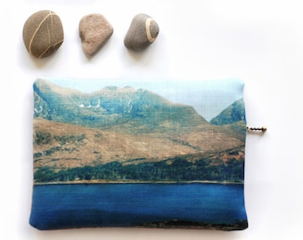 Clutch purse, pouch with zip, Scottish landscape, mountain, TORRIDON