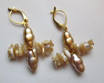 Natural Shell Chip and Gold and Pink Glass Pearl Earrings