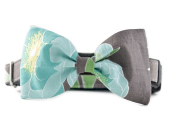 Bow Tie Dog Collar - Taupe and Green Flower Bow Tie Dog Collar  - Aster Bow Tie Collar - Bowtie for dogs - boy dog collar