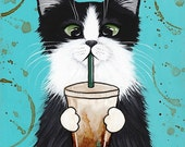 Iced Coffee Cat - Folk Art Print 5x7, 8x10, 11x14, 16x20