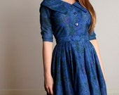 Vintage 1950s Dress - Royal Blue Floral Fit and Flare Sailor Day Dress - Medium