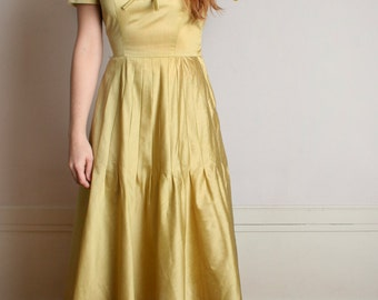 Vintage 1950s Dress - Golden Mustard Yellow Rhinestone Henry Rosenfeld Dress - Small Medium