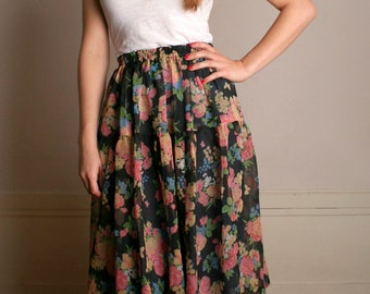 Vintage Floral Skirt - 1980s Soft Dark Pastel Flower Print Skirt