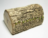 Reserved listing for Ha Organic Natural Log Rustic Engagement or Wedding Ring or Trinket Box With Peridot Beads, Hemp and Moss by Tanja Sova