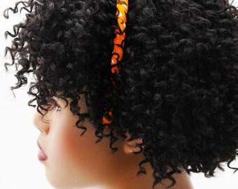 Headband, Natural Hair Headband, Hair Accessories, Hair Jewelry, Natural Hair, Hair Decor, Adaeze Orange African Fabric Headband