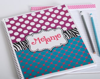 Polka Dot Spiral, zebra spiral, custom spiral, monogrammed spiral, Lined Spiral, personalized spiral, school spiral, journal, notebook