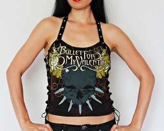 Bullet For my Valentine shirt crop top lace up metal alternative clothing apparel reconstructed rocker clothes altered band tee t-shirt