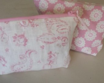 Handmade zippered box makeup pouch