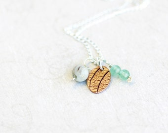 triple pendant and chain set, copper, agate and aventurine on sterling silver chain, foli